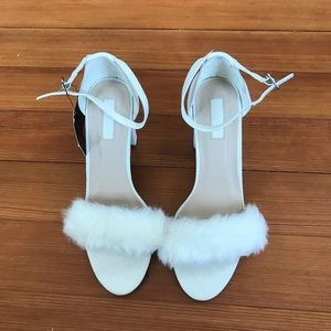 NWT Faux Fur Cream Heels 8.5
